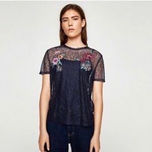 Zara navy lace sheer embroidered top - size S NWT